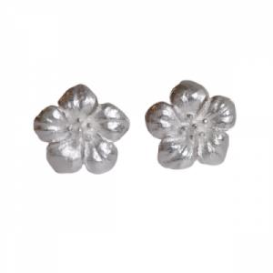 """Garden Eden"" Flower - Stud Earring - Silver"