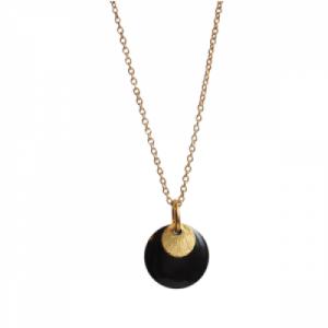 """Spot"" Black/Gold - Necklace - Gold"
