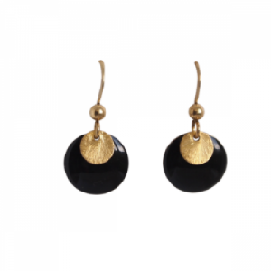 """Spot"" Black/Gold - Earring - Gold"