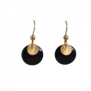 """""""Spot"""" Black/Gold - Earring - Gold"""