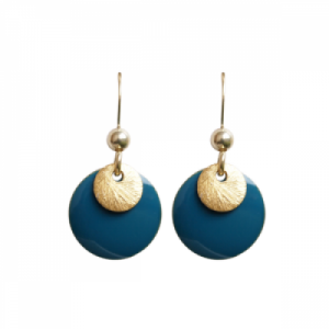 """Spot"" Petrol/Gold - Earring - Gold"