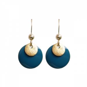 """Spot"" Petrol/Gold - Earring - Gold"