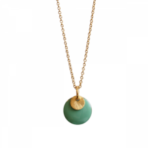 """Spot"" Mint/Gold - Necklace - Gold"