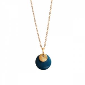"""Spot"" Petrol/Gold - Necklace - Gold"