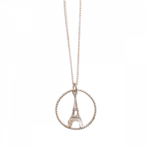 """Sophie"" Eiffel in Circle - Necklace - Silver"