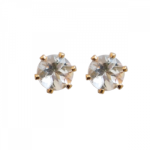 """Solitaire"" Morganite (M) - Stud Earring - Gold"