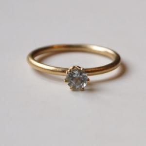 """""""Solitaire"""" Aquamarin (M) - Ring - Gold"""
