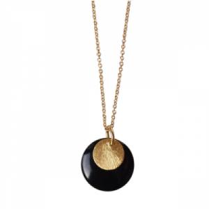 """Spot"" Black/Gold Large - Necklace - Gold"