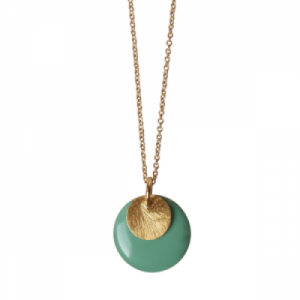"""Spot"" Mint/Gold Large - Necklace - Gold"