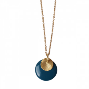 """Spot"" Petrol/Gold Large - Necklace - Gold"