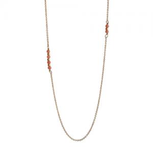 """""""Un-Deux-Trois"""" Peach Coral - Necklace - Gold"""
