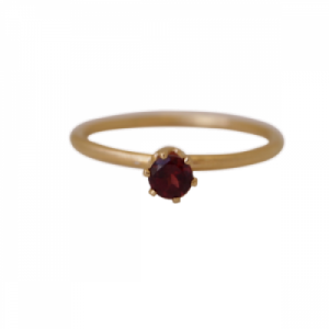 """Solitaire"" Garnet (M) - Ring - Gold"