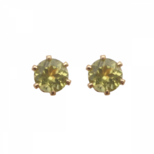 """Solitaire"" Peridot (M) - Stud Earring - Gold"