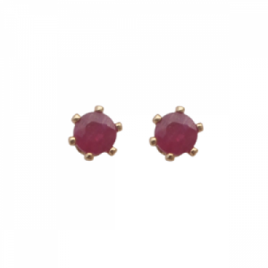 """Solitaire"" Ruby (S) - Stud Earring - Gold"