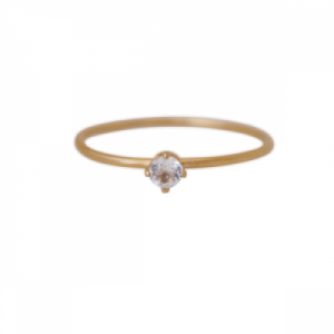 """Solitaire"" White Topaz (S) - Ring - Gold"