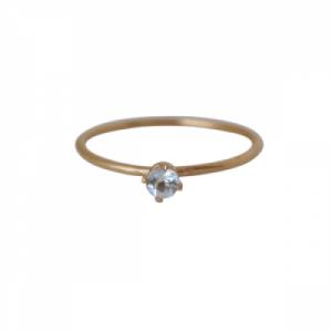 """Solitaire"" Aquamarin (S) - Ring - Gold"