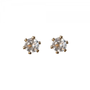 """Solitaire"" White Topaz (S) - Stud Earring - Gold"