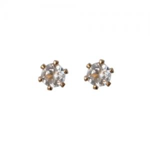 """Solitaire"" White Topaz (S) - Stud Earring - Gold"