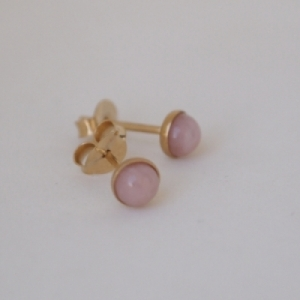 """Petit Point"" Pink Opal - Stud Earring - Gold"
