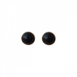 """Petit Point"" Onyx - Stud Earring - Gold"