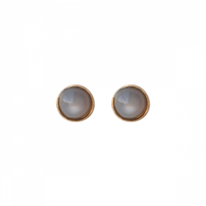 """Petit Point"" Grey Moonstone - Stud Earring - Gold"