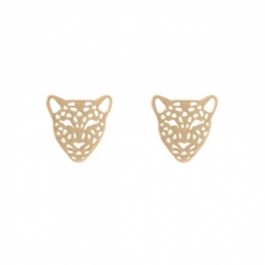 """Panthera"" Head - Stud Earring - Gold"