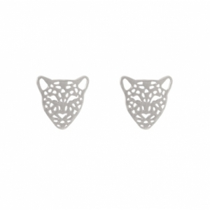 """Panthera"" Head - Stud Earring - Silver"