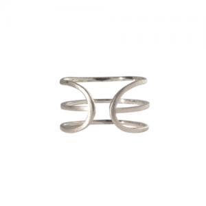 """Stripes & Joist"" Three Line - Ring - Silver"
