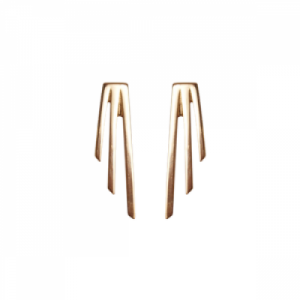 """Stripes & Joist"" Three Line - Stud Earring - Gold"