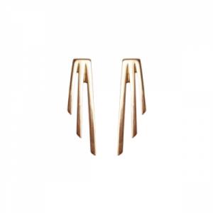 """Stripes & Joist"" Three Line - Stud Earring - Gold"