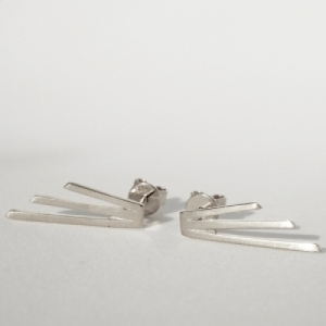 """Stripes & Joist"" Three Line - Stud Earring - Silver"