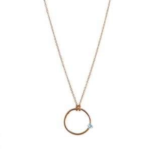 """Solitaire"" Aquamarin - Necklace - Gold"