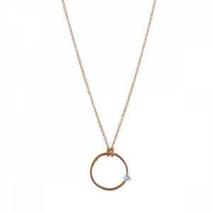 """Solitaire"" Aquamarin - Necklace - Gold"
