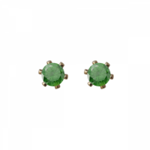 """Solitaire"" Emerald (S) - Stud Earring - Gold"
