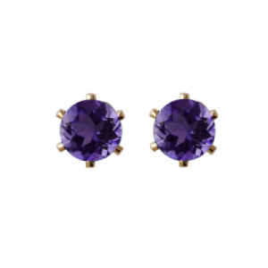 """Solitaire"" Amethyst (M) - Stud Earring - Gold"