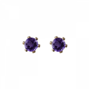 """Solitaire"" Amethyst (S) - Stud Earring - Gold"