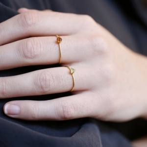 """Solitaire"" Fire Citrin (S) - Ring - Gold"