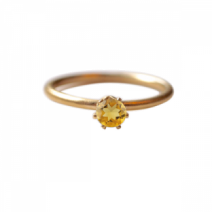 """Solitaire"" Citrin (M) - Ring - Gold"