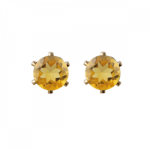 """Solitaire"" Citrin (M) - Stud Earring - Gold"