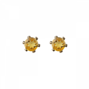 """Solitaire"" Citrin (S) - Stud Earring - Gold"
