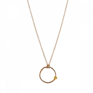 """Solitaire"" Citrin - Necklace - Gold"