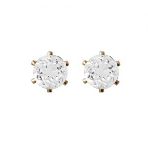 """Solitaire"" White Topaz (M) - Stud Earring - Gold"
