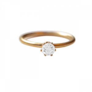 """Solitaire"" White Topaz (M) - Ring - Gold"