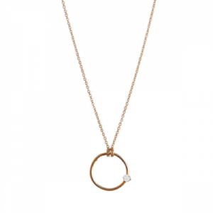 """Solitaire"" White Topaz - Necklace - Gold"