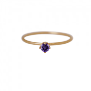 """Solitaire"" Amethyst (S) - Ring - Gold"