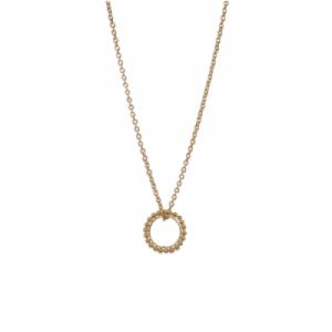 """""""Un-Deux-Trois"""" Milgrain Circle - Necklace - Gold"""