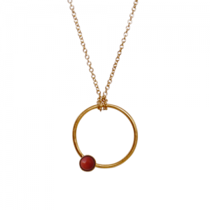 """Petit Point"" Coral - Necklace - Gold"