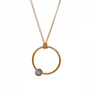"""Petit Point"" Grey Moonstone - Necklace - Gold"