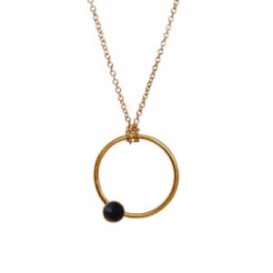 """Petit Point"" Onyx - Necklace - Gold"