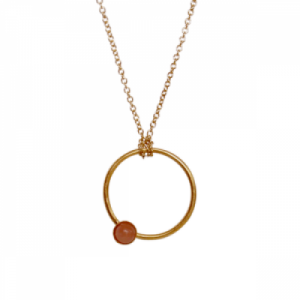 """Petit Point"" Peach Moonstone - Necklace - Gold"